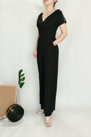V neckline Plain Black Long Jumpsuit