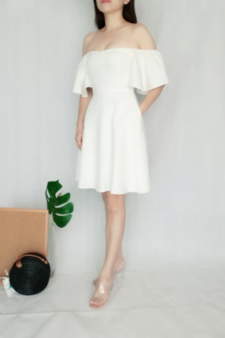 Off-Shoulder Flounce Sleeves White Midi Dress