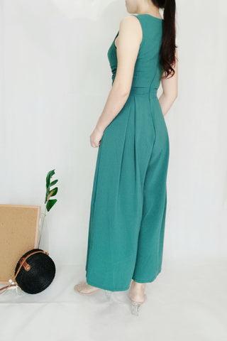 Plain Green Sleeveless Long Jumpsuit