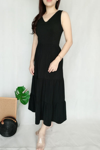 V Neck Plain Black Long Dress