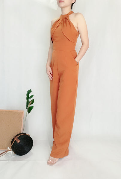 Crew Neckline Long Jumpsuit