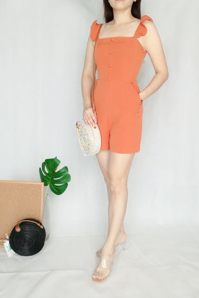 Wavy Sleeve Romper in Orange