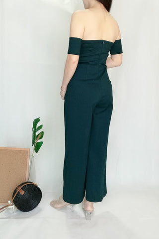 Off-Shoulder Long V neckline Jumpsuit in Dark Green