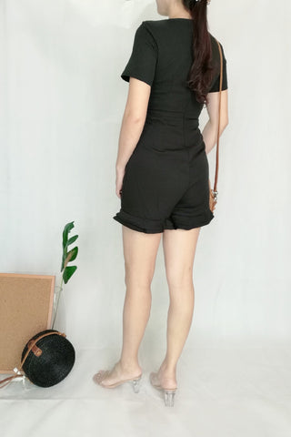 Low Neckline Romper in Black
