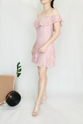Off-Shoulder Pink Lace Dress