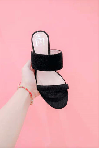 Block Heels Mules in Black