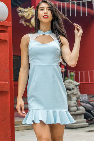 Eldreda Trumpet Skirt Bodycon Dress in Pastel Blue