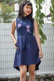 Earlene Cheongsam in Navy Blue