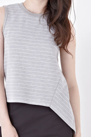 Twenty3 - Naomi Sleeveless Top in Grey Stripes -  - Top - 1