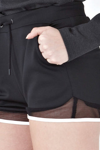 Twenty3 - Bexley Mesh Panel Drawstring Shorts in Black -  - Bottoms - 1