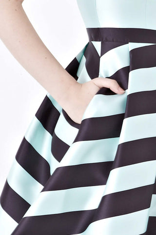 Twenty3 - Cynthia Skater Dress in Mint Stripes -  - Dresses - 1