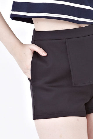 Melissa Shorts with Folded Drape in Black - Bottoms - Twenty3