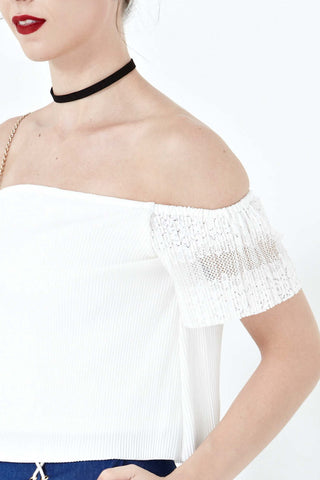 Twenty3 - Daelyn Lace Off Shoulder Top in White -  - Tops - 1