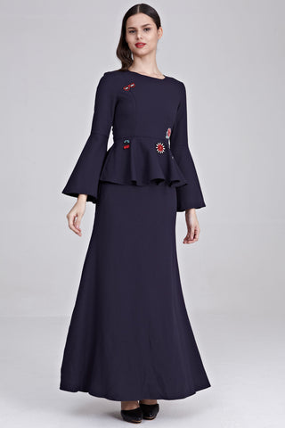 Uqasha Peplum Dress with Patches in Navy Blue