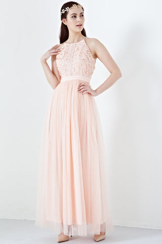 Twenty3 - Jezebel Lace Panel Tulle Bridal Gown in Salmon Pink -  - Maxi Dress - 1
