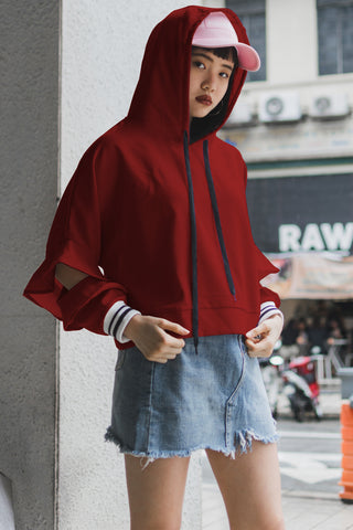 Karlene Jumper with Hoodie in Rusty Red