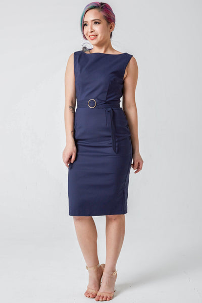 Diana Belted Bodycon Midi Dress in Navy Blue