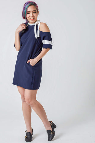 Weylyn Cold Shoulder Shift Dress in Navy Blue