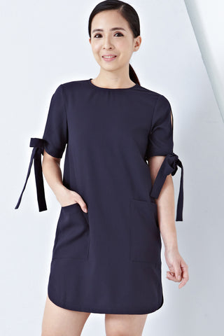 Twenty3 - Helina Ribbon Detail Shift Dress in Navy Blue -  - Dresses - 1