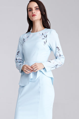 Eesha Peplum Dress with Placement Floral Print in Powder Blue