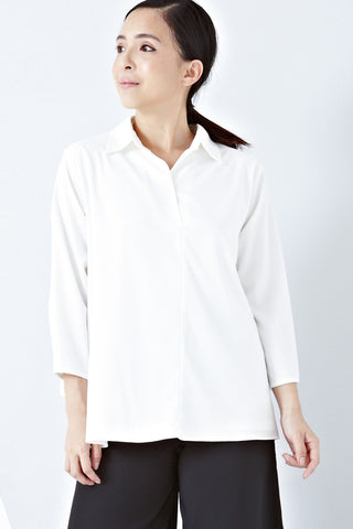 Twenty3 - Jaymaia Overlap Panel Back Long Sleeve Top in White -  - Tops - 1