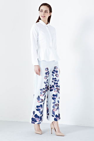 Azraa High Waist Culottes in Blue Bilqis Prints