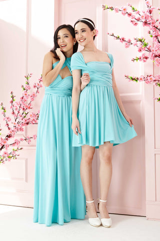 Twenty3 - Marilyn Convertible Bridesmaids Dinner Dress Version III in Tiffany Blue (Short) -  - Bridesmaids - 1