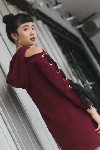 Marcia Cold Shoulder Sweater Dress with Hoodie in Burgundy