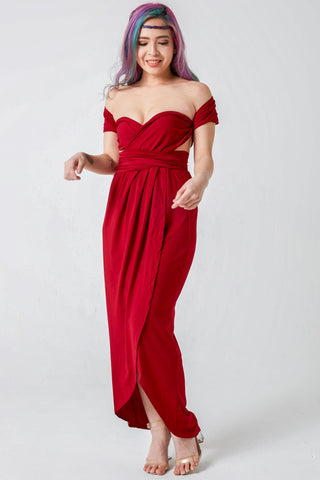 Mandy Convertible Bridesmaids Dinner Dress in Burgundy