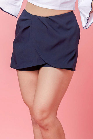 Caryn Drape Skort in Navy Blue