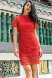 Danella Lace Overlay Bodycon Dress in Red - Dresses - Twenty3