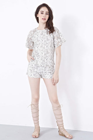 Twenty3 - Misty Lace Overlay Top in White -  - Top - 1