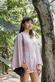 Adelphie Romper with Cape sleeves in Dusty Pink - Romper - Twenty3
