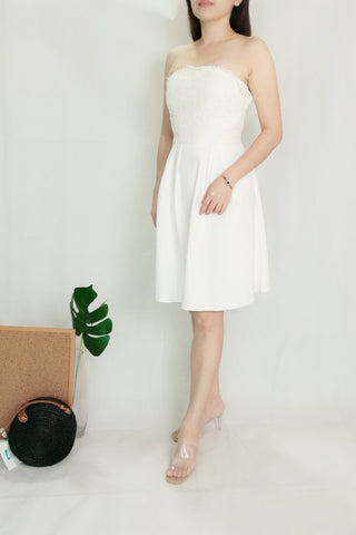 Strapless Tube Dress with Upper Lace in White