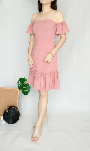 Off-Shoulder Midi Dress in Pink