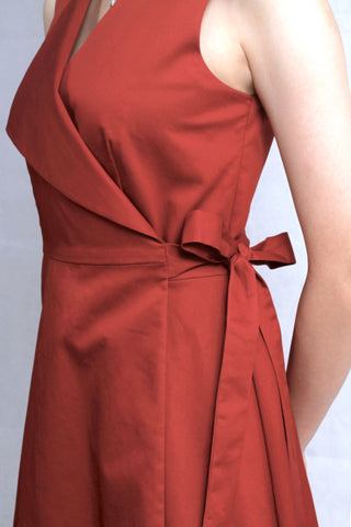 BACK-ORDER : Overlapped Belted Dress in Autumn Red
