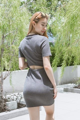 Twenty3 - Valerie Back Cut Out Rib Knit Dress in Grey -  - Dresses - 1