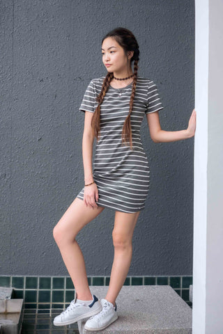 Elvina Bodycon Dress in White Stripes - Dresses - Twenty3
