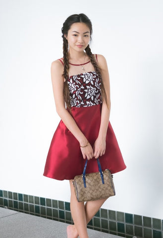 Twenty3 - Leila Lace Bodice Skater Dress in Burgundy -  - Dresses - 1