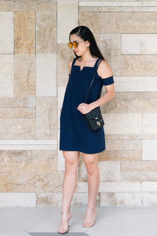 Brandia Cold Shoulder Shift Dress in Navy Blue - Dresses - Twenty3