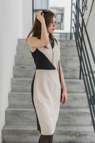 Darlyne Contrast Panel Sheath Dress in Nude and Black