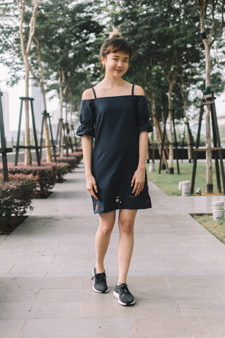 Tereneh Cold Shoulder Shift Dress with Floral Embroidery in Navy Blue