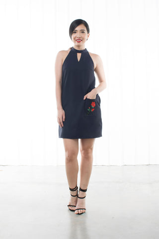 Twenty3 - Pandora Choker Neckline Shift Dress with Embroidery in Navy Blue -  - Dresses - 1