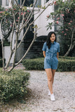 Enid Utilitarian Romper in Light Denim - Romper - Twenty3