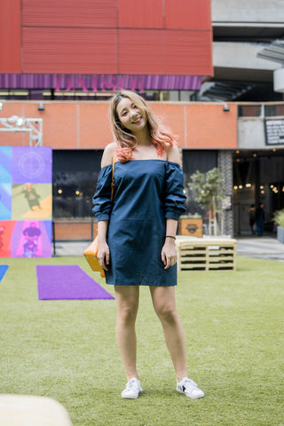 Sorrel Puff Sleeve Dress in Navy Blue