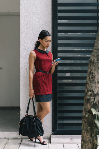 Kennedy Panel Shift Dress in Burgundy