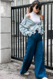 Jacqui Wide Leg Pants with Side Button Slits in Denim