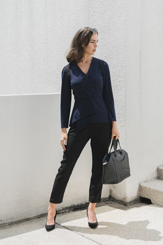 Griselda Long Sleeves Fitted Top in Navy Blue - Tops - Twenty3