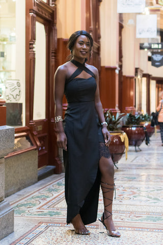 Briary Multiway Dress with Lace Insert in Black