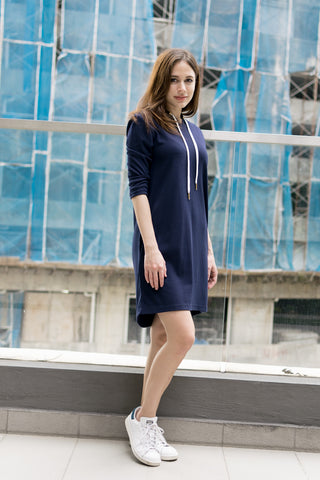 Enya Long Sleeves Knit Dress with Hood in Navy Blue